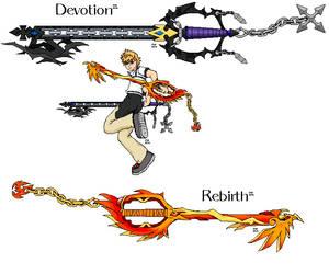 Devotion and Rebirth keyblades by ShiningamiMaxwell