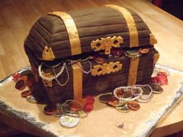 Pirate treasure chest cake by Shoshannah84