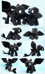 Young Toothless  - Handamde plushies by Piquipauparro