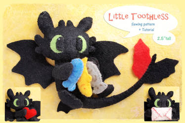 Little Toothless felt pattern PDF for sale by Piquipauparro