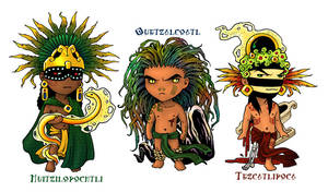 Aztec God Chibis by TheArtfulMegalodon