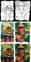 Aztec Gods The Process by TheArtfulMegalodon