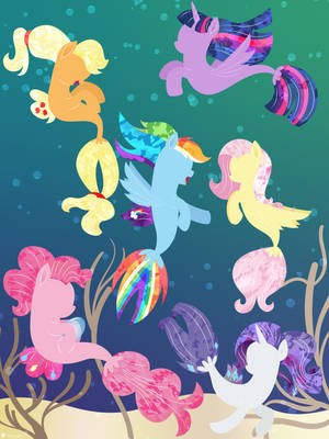 Mane 6 Seaponies by illumnious
