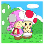 Toad and Toadette by pichu90