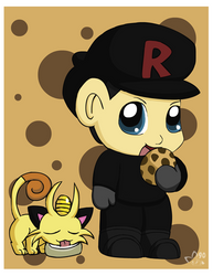 Chibi Rocket and Meowth by pichu90