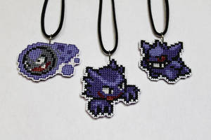 Gastly, Haunter, and Gengar stitched necklaces by starrley