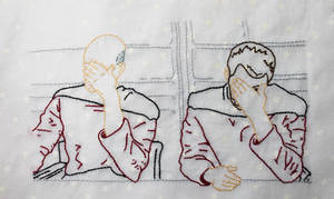 Picard and Riker Facepalm hand embroidery by starrley