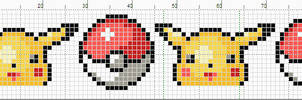 Pikachu And Pokeballs banner pattern by starrley