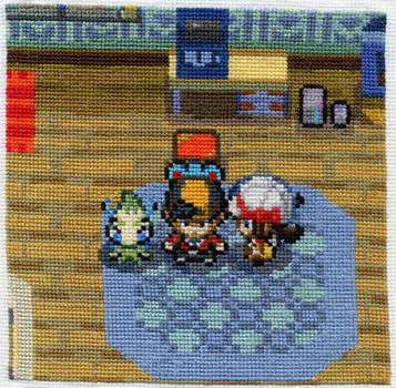 Pokemon Heartgold screenshot cross-stitched by starrley