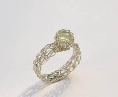 Silver Prehnite Crochet Ring by WrappedbyDesign