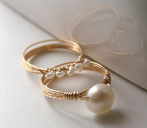 Set of Gold Pearl Rings by WrappedbyDesign