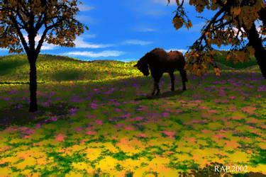Horse on velvet field by Richard-A-Patterson