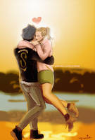 Riverdale // Bughead // Sunset Embrace by vyrenia