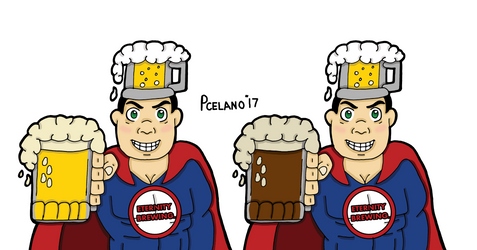 Captain Beer Light And Dark Beer In Mug by chelano