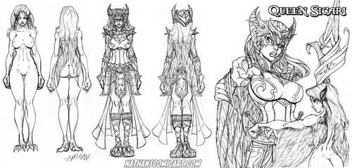Knightingail Queen Sicari character sheet 0001 by nathanscomicart