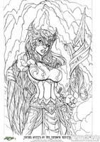 Knightingail Vol 2 COVER #002 line-art DA by nathanscomicart