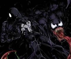 VENOM AND BLACK SPIDEY by thejigsawrlm