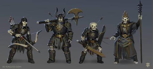 Skeleton character concepts by KJKallio
