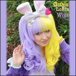 Wavy Split - Lavender + Yellow by GothicLolitaWigs
