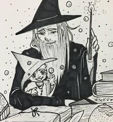 Inktober Day 25- Wizard by Cerlinna