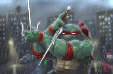 Raphael playing in the rain by thedarkcloak