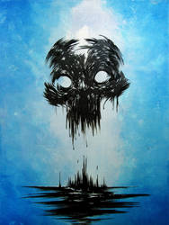 Inky Blotch Skull by thedarkcloak