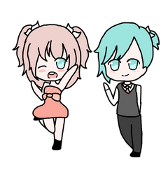 Chibi Macaroons twins by sweetpink123