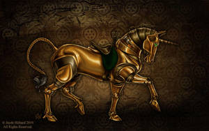 Steampunk Unicorn - Damask by redrevvy