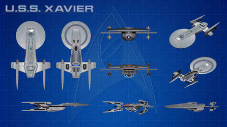 USS Excelsior Study Model (USS Xavier) Orthos by calamitySi