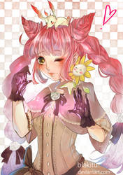 Momo/Art trade with Suikacchi by blakitu