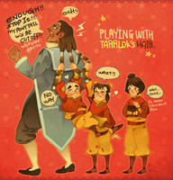 Playing with Tarrlok's hair! by freestarisis