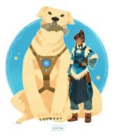Korra and Naga by freestarisis