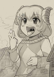The croissant-horned giantess by Karbo