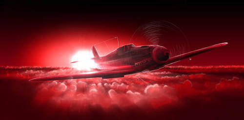 red Messerschmitt Bf109 G by Bephza