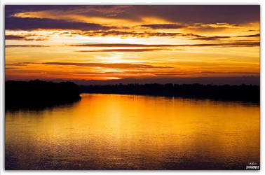Sunset over the Danube by hellpics