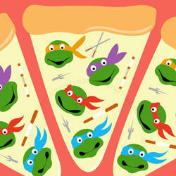 Turtle Pizza by CreativeCamArt