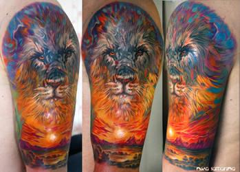 lion sunset tattoo by NikaSamarina