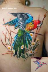 parrot tattoo by NikaSamarina