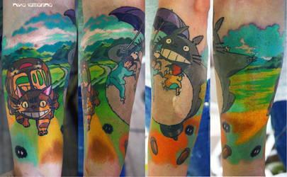 totoro and catbus tattoo by NikaSamarina