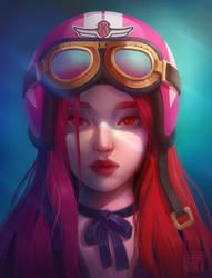 Girl in a helmet by Klodia007