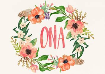 Ona Watercolor Name Art by littlemissfreak
