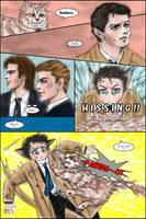Supernatural S8.08 gag manga : Cass vs. Cat by noji1203