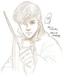 Rough Sketch : Newt Scamander and Pickett by noji1203
