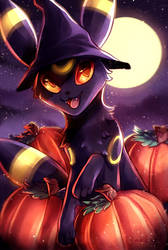 an umbreon halloween! by awkwaard