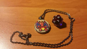 Cross Stitch Charizard Necklace by Sirithre