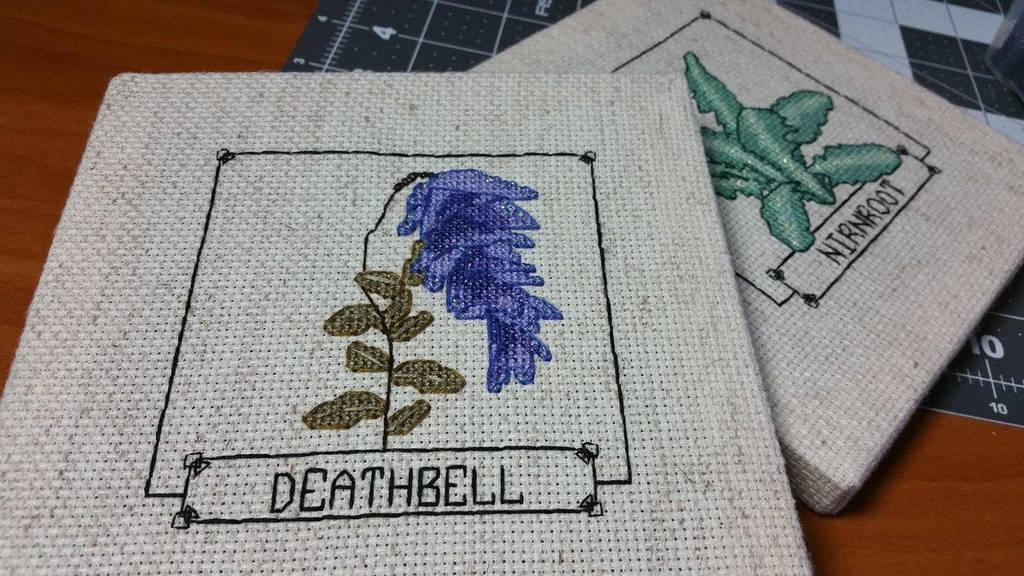 Skyrim Cross Stitch - Deathbell by Sirithre