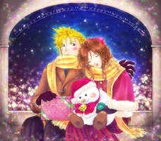 Merry Xmas Cloud and Aerith by tsutsa