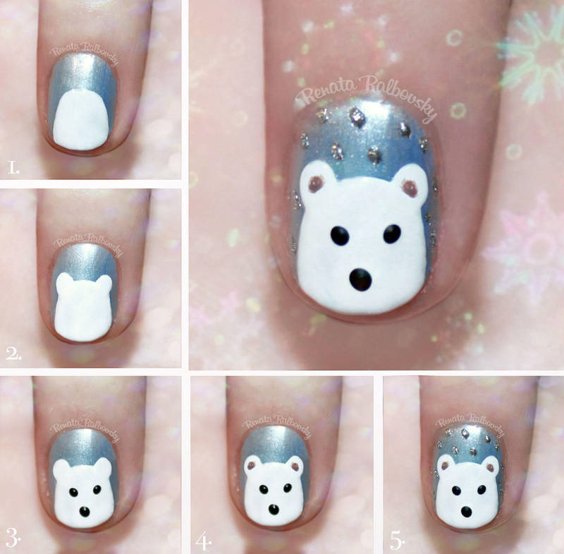 Cute Polar Bear Nail Art Tutorial by psychoren