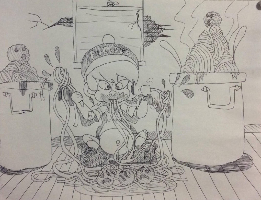 little nice boy eat,eat,eat ! Very huge spaghetti by Jjunktox