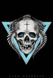 Skull with christian cross tattoo sketch by VladGradobyk